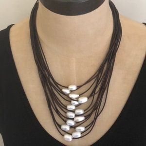 Jewelry - Multi Leather & Pearl Necklace